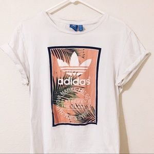 Adidas palm leaf and pink tshirt